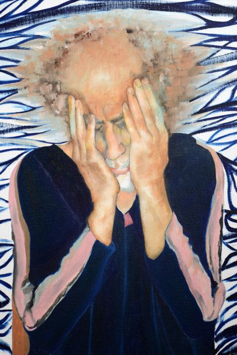 detail :Dont stop crying - Painting,  140x100 cm ©2014 by david teszler -                            Portraiture, SHOA TRAUMA                                      SURVIVOR AND DISTRESS FOR LIFE               DAVID TESZLER -DAVIDART