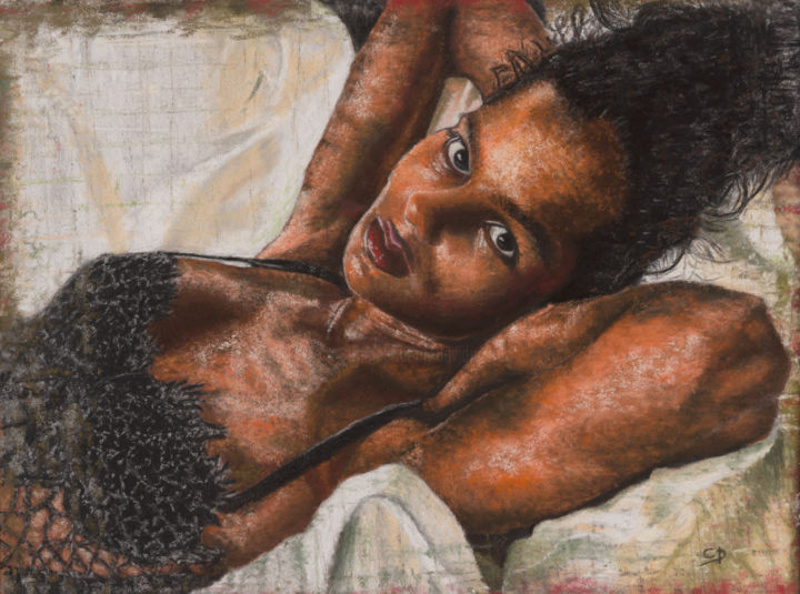 Réveil matinal, nu féminin - Pastel sec -  40x50cm - Painting,  40x50 cm ©2015 by David Cadran -                                                                                                                                                Figurative Art, Portraiture, Realism, Paper, Body, Women, Nude, People, Portraits, Erotic, Femme, nude, regard, fille, sexy, sensuel, woman, visage, face, girl, rêve, body, sensuality
