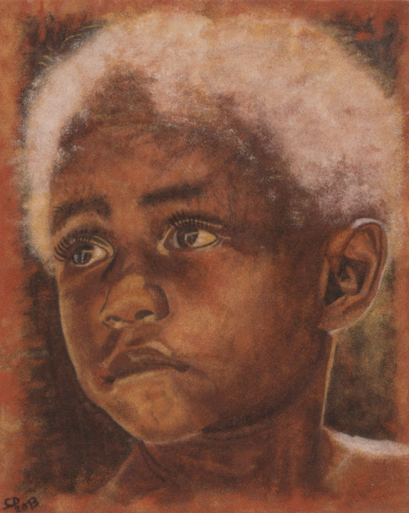 Portrait enfant - Tableau de Sable - 40x50cm - Painting,  19.7x15.8x0.4 in, ©2013 by David Cadran -                                                                                                                                                                                                                                                                                                                                                                                                                                                                                                                                                                                                                                                                                                                                                                                                                                                                                                                                                                                                                                                      Figurative, figurative-594, Wood, Sand, World Culture, Children, Men, People, Portraits, enfant, garçon, boy, regard, yeux, eyes, portrait, visage, face, tableau de sable, portrait sable, terre, ocre