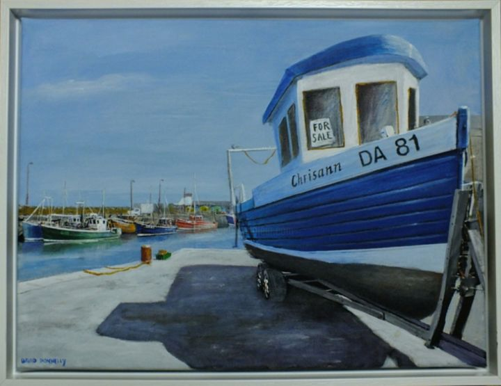 """Painting titled """"Boat for sale"""" by David Donnelly, Original Art, Oil"""