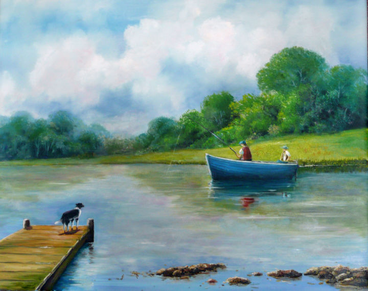 """Painting titled """"Fishing on Lough Ow…"""" by David Donnelly, Original Art, Oil"""