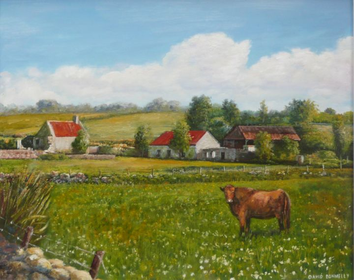 """Painting titled """"bull-in-field-2.jpg"""" by David Donnelly, Original Art, Oil"""