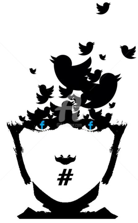 Followers addicted - Digital Arts, ©2016 by daz -                                                                                                                                                                                                                                                                                                                                                                                                                                                                                              Street Art, street-art-624, street art, banksy, facebook, twitter, hashtag, black and white, stencil, pochoir
