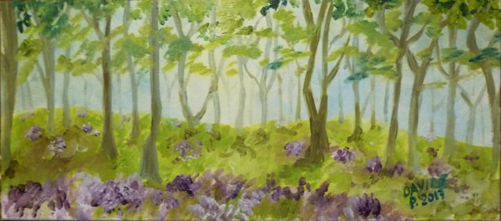 Bosco con viole - Painting,  4.9x11.8 in, ©2017 by Davide Pacini -                                                                                                                                                                                                                                                                                                                                                                                                                                                          Impressionism, impressionism-603, Other, Nature, Landscape, Davide Pacini, pittore pistoiese, paesaggi, pittura a olio