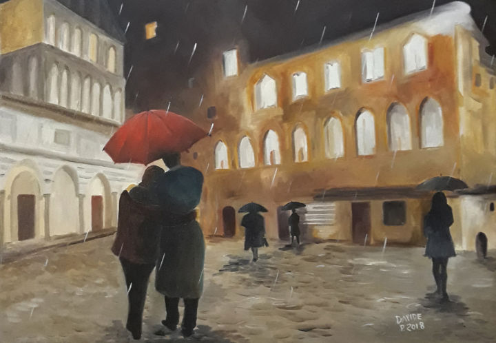 Passeggiata in piazza Duomo a Pistoia - Painting,  50x70x4 cm ©2018 by DAVIDE PACINI -                                                                        Impressionism, Canvas, Landscape, People, Davide Pacini, pittore pistoiese, piazza del duomo pistoia, figure, pioggia, passeggiare