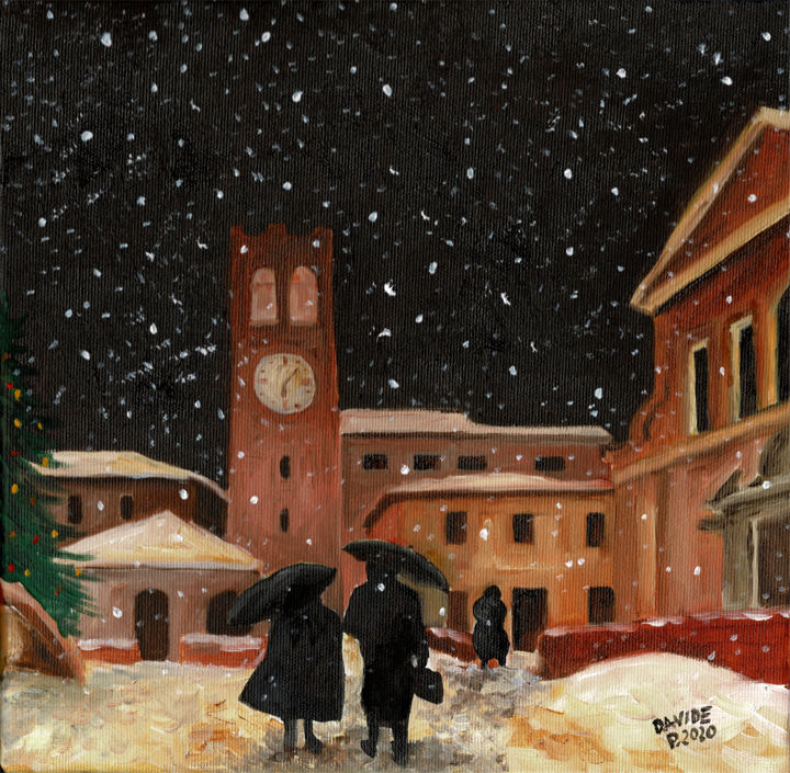 Notte di Natale a Bormio - Painting,  11.8x11.8x0.8 in, ©1989 by Davide Pacini -                                                                                                                                                                                                                                                                                                                                                                                                          Impressionism, impressionism-603, Landscape, davide pacini, pittore pistoiese, natale, bormio, nevicata