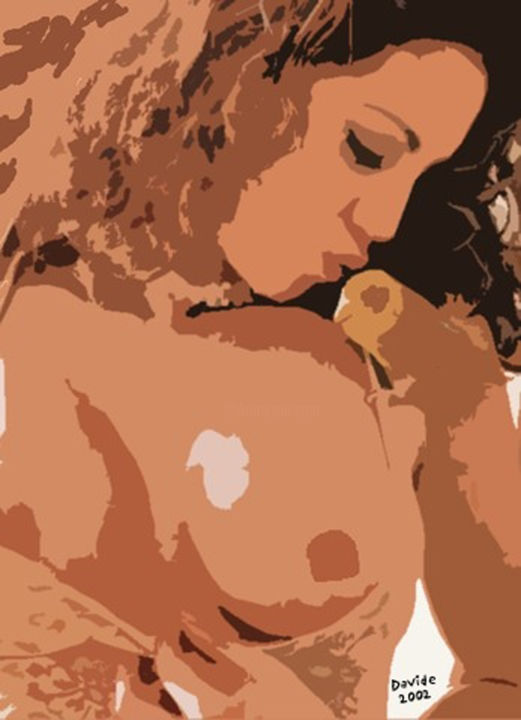collage - Drawing,  24x30 cm ©2014 by DAVIDE PACINI -            collage, nudo, donna