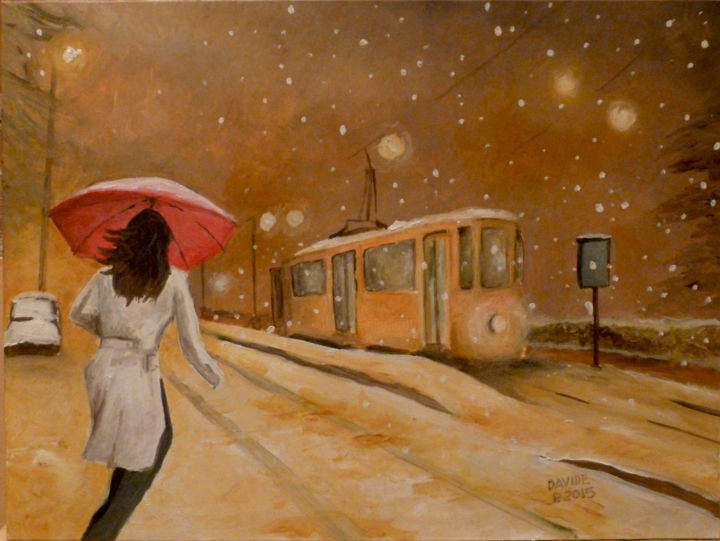 neve a Milano - Painting,  30x40 cm ©2015 by DAVIDE PACINI -                                                            Figurative Art, Other, Cities, Davide, Pacini, pittura, pittore, olio, donne, città, Milano, dipingere, pittori pistoiesi, pittore pistoiese, artisti