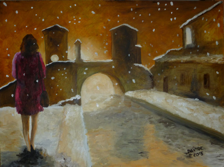 nevicata lungo il fiume.jpg - Painting,  30x40 cm ©2015 by DAVIDE PACINI -                                                            Figurative Art, Other, Women, Davide Pacini, Davide, Pacini, pittura, pittura ad olio, neve, donne, fiume