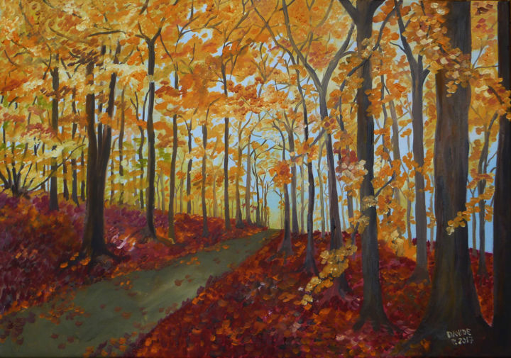 bosco in autunno - Painting,  19.7x27.6 in, ©2017 by Davide Pacini -                                                                                                                                                                                                                                                                                                                                                                                      Nature, davide pacini, pittura a olio, bosco, autunno, dipingere, nautura, foglie