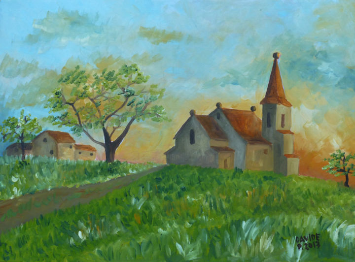chiesa di campagna - Painting,  11.8x15.8 in, ©2017 by Davide Pacini -                                                                                                                                                                                                                                                                                                                                                                                                                                      Other, Landscape, davide pacini, pittura, pittura a olio, dipingere, chiesa, campagna, tramonto