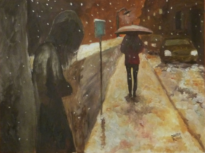 Firenze neve sul lungarno - Painting,  30x40 cm ©2017 by DAVIDE PACINI -                                                                        Figurative Art, Other, Cities, Women, davide pacini, pittore, pittura a olio, donne, firenze, neve, nevicata, donna triste