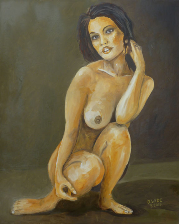 Rebecca - Painting,  19.7x15.8 in, ©2017 by Davide Pacini -                                                                                                                                                                                                                                                                                                                                                                                                                                                                                                      Figurative, figurative-594, Other, Women, Nude, Davide Pacini, pittore pistoiese, dipinti a olio, nude woman, oil painting