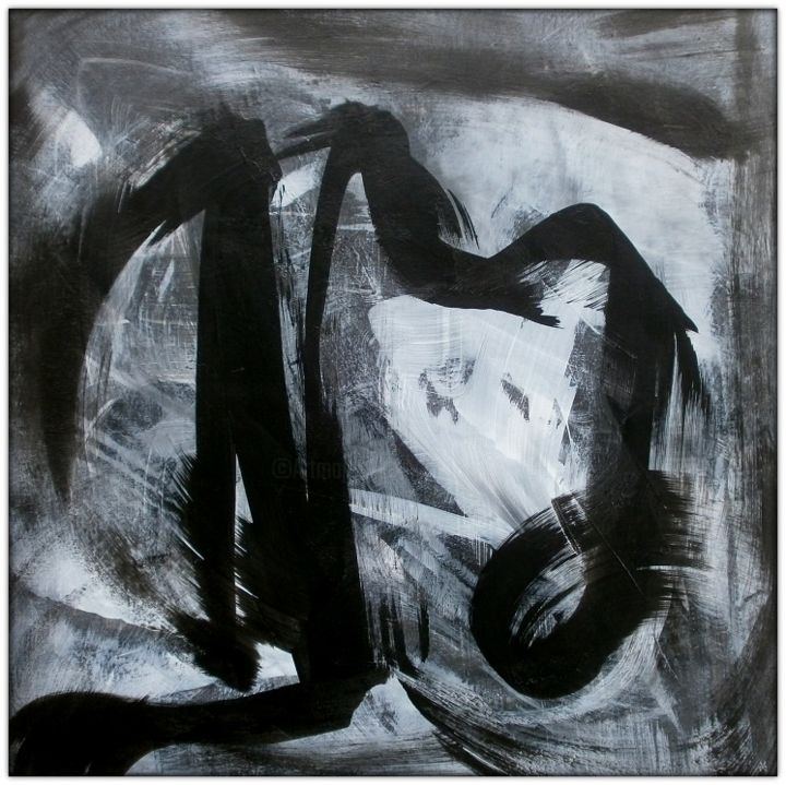 Thoummim II (Tumim II) - Painting,  31.5x31.5x0.8 in, ©2016 by Davidian Gotis -                                                                                                                                                                                                                                                                                                                                                                                                                                                                                                                                                                                                                                                                                                                                                                                                                                                                                                              Abstract, abstract-570, Abstract Art, Black and White, Spirituality, Calligraphy, Light, abstract art, peinture abstraite, abstract expressionism, peinture originale acrylique, original acrylic painting, peinture rythmique, rhythmical abstract, noir et blanc, harmonie, black and white, b&w, yin/yang
