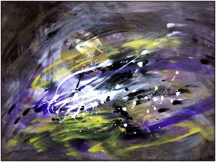 Danse du Silence (Dance of Silence) - Painting,  19.7x25.6 in, ©2016 by Davidian Gotis -                                                                                                                                                                                                                                                                                                                                                                                                                                                                                                                                                                                                                                                                                                                                                                                                                                                                                                                                                                                                                                                                                                                                                                                      Abstract, abstract-570, Abstract Art, Colors, Light, Danse du Silence, Dance of Silence, Peinture originale acrylique, Original acrylic painting, Daily painting, abstraction lyrique, lyrical abstraction, peinture gestuelle, gestural painting, art abstrait, abstract art, tableau abstrait, expressionnisme abstrait, purple yellow black white, une peinture par jour, a painting a day, abstract expressionism, peinture abstraite, artwork artmajeur, peinture libre