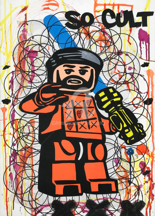 """""""Love warrior """" - Painting,  27.6x19.7x1.2 in, ©2019 by DAVID KARSENTY -                                                                                                                                                                                                                                                                                                                                                                                                                                                                                                                                                                                                                                                                                                          Comics, Colors, Pop Culture / celebrity, Celebrity, david karsenty, pop, pop-art, pop-culture, artcontemporain, art-contemporain, art-contemporain -urbain, so cult, street-art, street-culture, street-pop"""