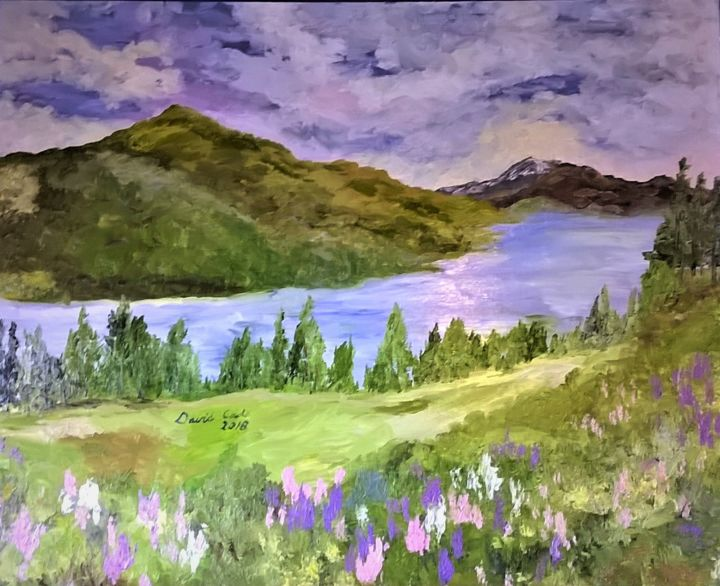 "MOUNTAIN LAKE WITH WILDFLOWERS - 32"" X 40"" - © 2018  Œuvres-d'art en ligne"