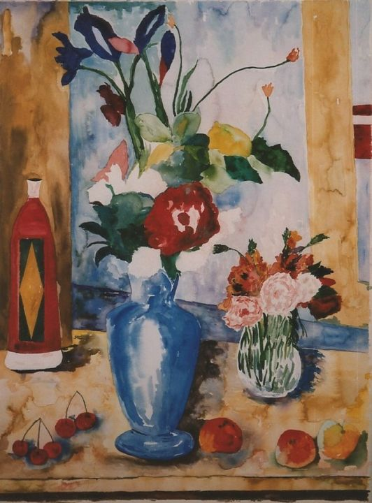 Still Life Blue Vase After Cezanne David Cade