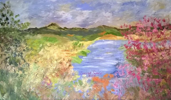 RIVER VIEW FROM BRIDGE - Peinture,  28x48 in, ©2018 par DAVID CADE -                                                                                                                                                                          Impressionism, impressionism-603, Paysage