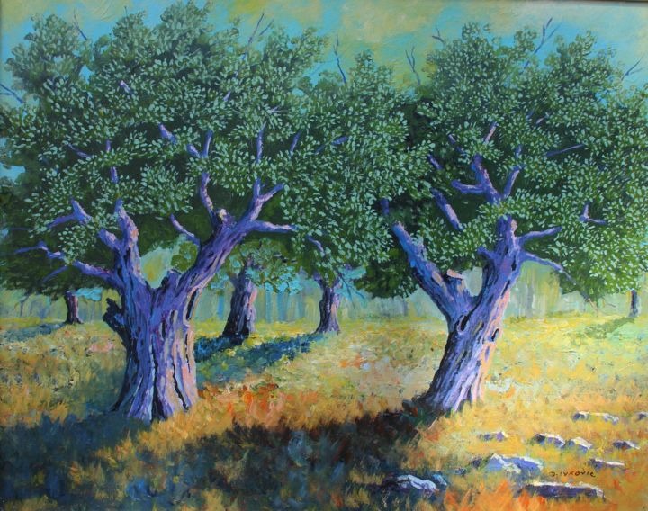 """Painting titled """"Olive trees"""" by Davor Ivković, Original Art, Acrylic"""