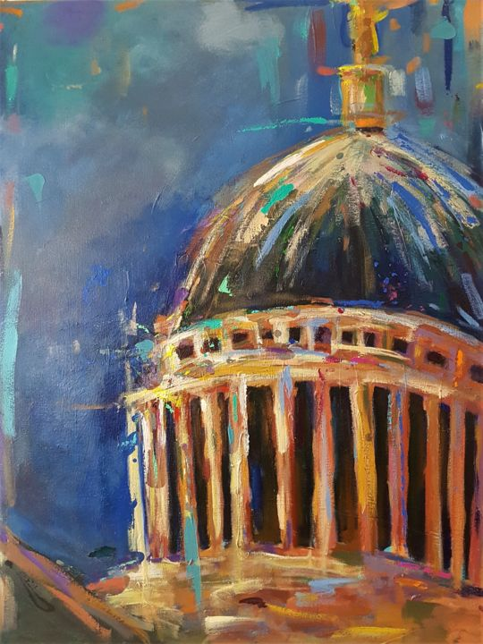 """Painting titled """"St. Paul's Cathedral"""" by Dawn Underwood, Original Art, Acrylic"""