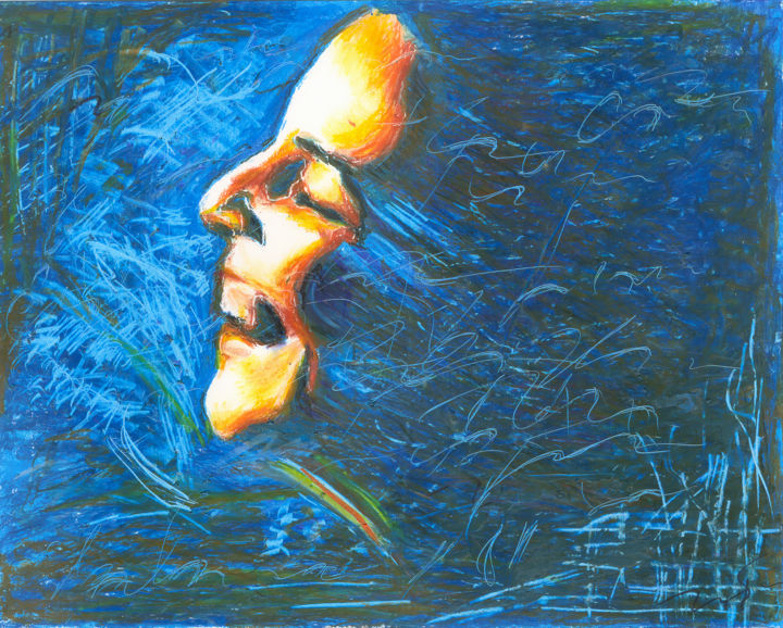 Marina Meirelles, 26 March 2015 - Painting,  11.7x14.6x0.1 in, ©2015 by Dea Lieotto -                                                                                                                                                                                                                                                                                                                                                                                                                                                                                                                                                                                                                                                                                                                                                                                                                                              People, Women, happiness, March, smile, woman, face, profile, blue, portrait, oil, pastel, paper, art, emotion, feeling, sweet, heart