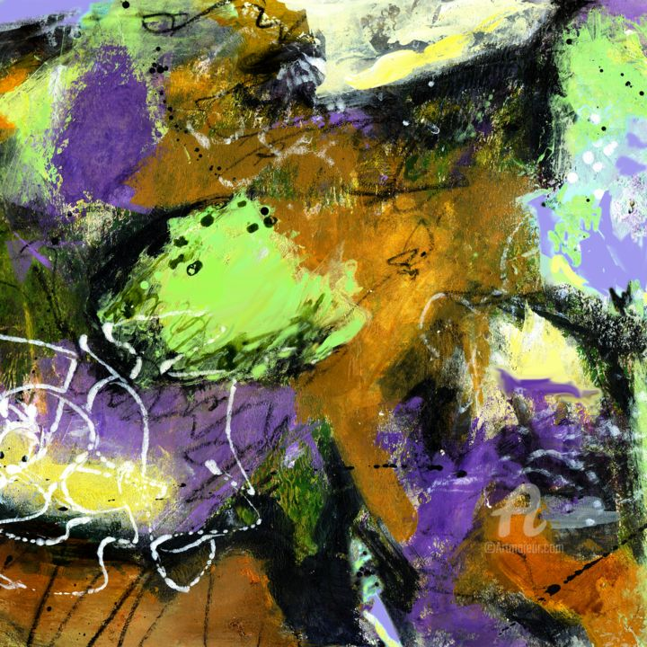 """Painting titled """"Lime Puff"""" by Deanna Che Lyn, Original Art, Acrylic"""