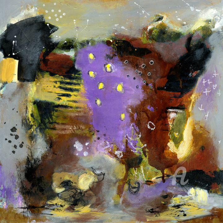 """Painting titled """"Purple Divide"""" by Deanna Che Lyn, Original Art, Acrylic"""