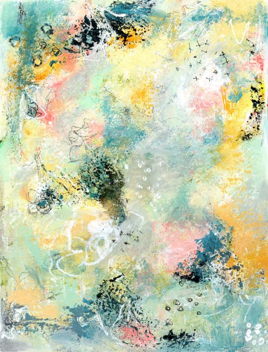 """Painting titled """"Peppermint - Abstra…"""" by Deanna Che Lyn, Original Art, Acrylic"""