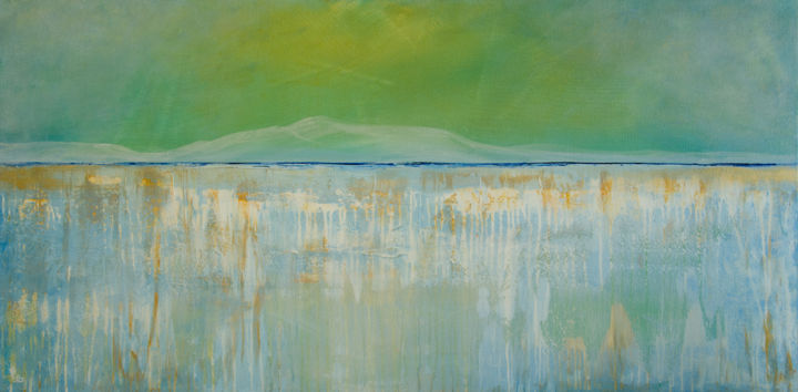 Glacial Sunset - Large Abstract - TexturedPainting - © 2019 glacier painting, large abstract painting, green and blue painting, textured painting, gold in painting, landscape painting, deb breton Online Artworks