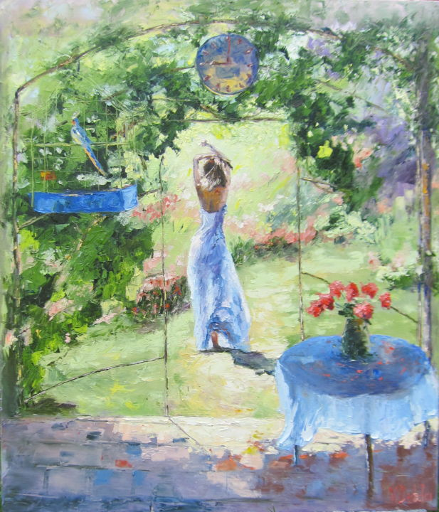 Girl Garden Rose, bird in a cage,red flowers,arbor - Painting,  70x60x2 cm ©2018 by Viktoria Debda -                                                                                                                                                                        Impressionism, Art Nouveau, Contemporary painting, Expressionism, Cotton, Fabric, Wood, Garden, Health & Beauty, Interiors, Landscape, Light, woman in the garden, inexpensive picture, beautiful garden, modern impressionism, bird in a cage, Rich life, art in the bedroom, beloved, emerald, Red roses