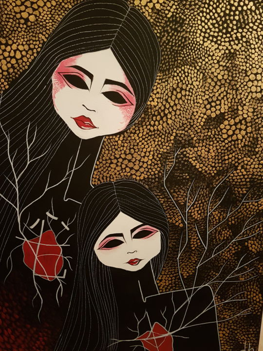 Gheishe.db - Painting,  19.7x27.6x0.8 in, ©2017 by Debora Bianchi -                                                                                                                                                                                                                                                                                                                                                                                                                                                                                                                                                                                                                                                                                  Abstract, abstract-570, Tree, Love / Romance, Abstract Art, Kids, Body, geisha, donne, alberi, giappone, rosso, nero, oro
