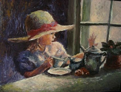 colazione - Painting,  5.9x7.9 in, ©2007 by Calidè -
