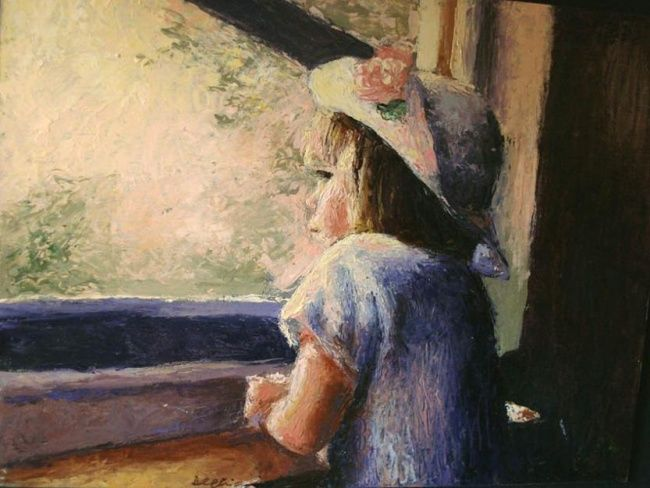 Alla finestra - Painting, ©2008 by Calidè -                                                                                                                                                                          Figurative, figurative-594, girl at the window child baby with a rose