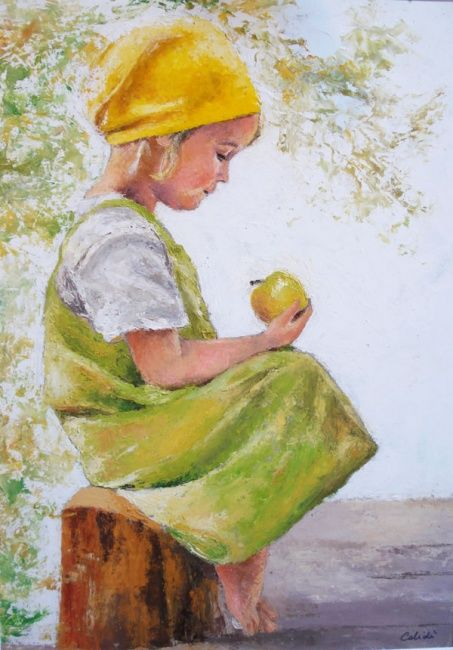 bimba con mela verde - Painting,  19.7x15.8 in, ©2009 by Calidè -                                                                                                                                                                          Figurative, figurative-594, oil painting