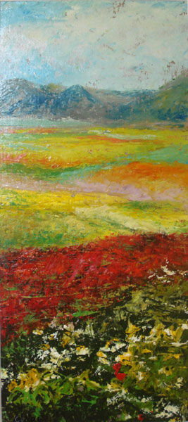 paesaggio - Painting,  9.8x5.9 in, ©2009 by Calidè -