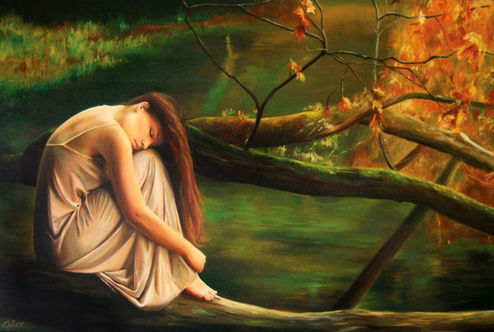 Donna sull'albero - Painting,  23.6x31.5 in, ©2010 by Calidè -                                                              woman on tree in the nature green water landscape seascape