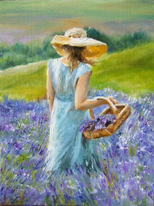 Lavander fields - Painting,  7.9x5.9 in, ©2014 by Calidè -                                                                                                                                                                          Figurative, figurative-594, girl on train travel viaggio sleep bags  red