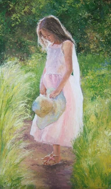 Estate - Painting,  27.6x16.1 in, ©2010 by Calidè -                                                              impressionist paint child summer child