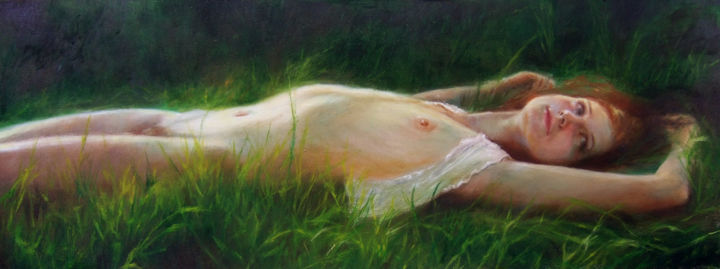 Nude on the grass - Painting,  11.8x31.5 in, ©2015 by Calidè -                                                                                                                                                                                                                                                                                                                                                                                                                                                                                                                                                                                                                                                                                  Figurative, figurative-594, Landscape, artwork_cat.Love/Romance, Nature, Women, woman, green, landscape, young, girl, grass, love, emotive