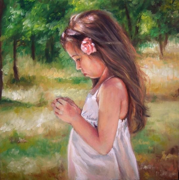 Spring - Painting,  11.8x11.8 in, ©2015 by Calidè -                                                                                                                                                                                                                                                                                                                                                                                                                                                                                                                                                                                                                                                                                                                              Figurative, figurative-594, Children, Flower, Landscape, artwork_cat.Love/Romance, Nature, girl child with rose, little girl, love, children, child, nature, landscape, spring