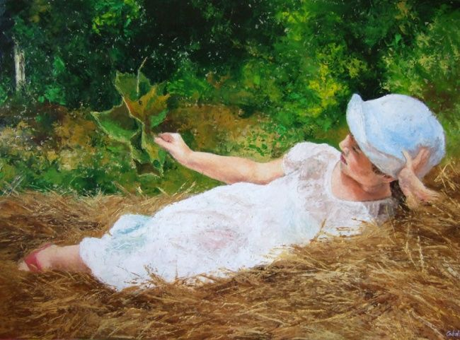 """""""Estate in campagna"""" - Painting,  19.7x27.6 in, ©2012 by Calidè -                                                                                                                                                                          Figurative, figurative-594, oil paint impressionist simpressionism style child children summer country hay bale"""