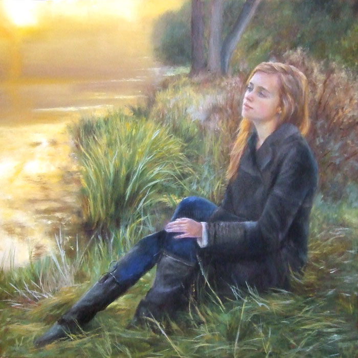 Sulla sponda del fiume - Painting,  23.6x23.6 in, ©2013 by Calidè -                                                                                                                                                                          Figurative, figurative-594, girl on the river woman on the river nature melancholy