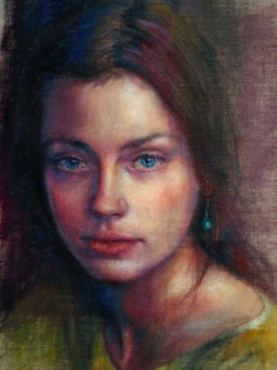 Sguardo Antico - Painting,  27.6x19.7 in, ©2013 by Calidè -                                                              woman portrait young woman girl with blue eyes woman portrait ritratto donna dipinto ad olio