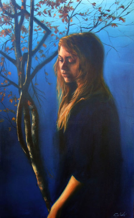 Anima Autunnale - Painting,  35.4x23.6 in, ©2013 by Calidè -                                                                                                                                                                          Figurative, figurative-594, soul autumn blue sky atmosphere blue