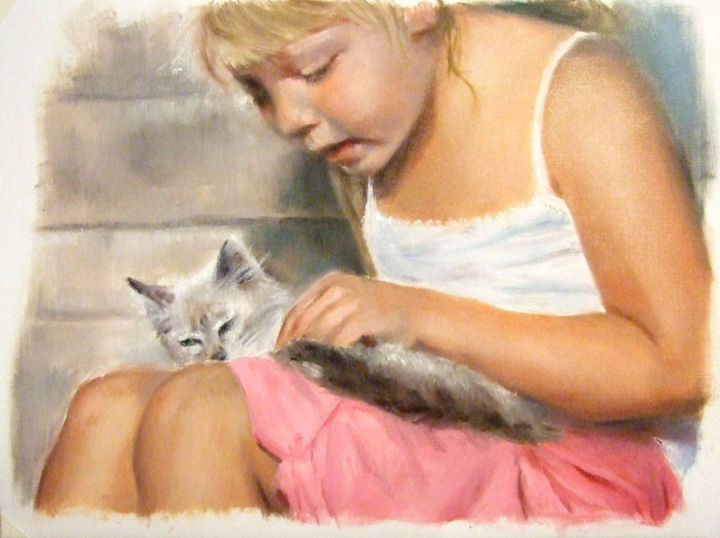 Bimba col gatto - Painting,  15.8x19.7 in, ©2013 by Calidè -                                                                                                                                                                          Figurative, figurative-594, child with cat