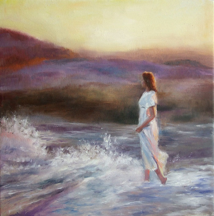 In riva al mare - Painting,  11.8x11.8 in, ©2013 by Calidè -                                                                                                                                                                          Figurative, figurative-594, on the river seascape sea