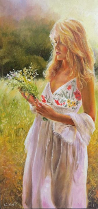 L'estate - Painting,  31.5x15.8x1.2 in, ©2015 by Calidè -                                                                                                                                                                                                                                                                                                                                                                                                                                                                                                                                                                                                                                                                                                                                                                                                                                                                                                                                                                                                                                                                                              Figurative, figurative-594, Flower, Landscape, artwork_cat.Love/Romance, Nature, Women, country, lands, woman, girl, flower, nature, emotive, impressionism, love, sweety, beauty, donna, mujer, femme, landscape, paesaggio