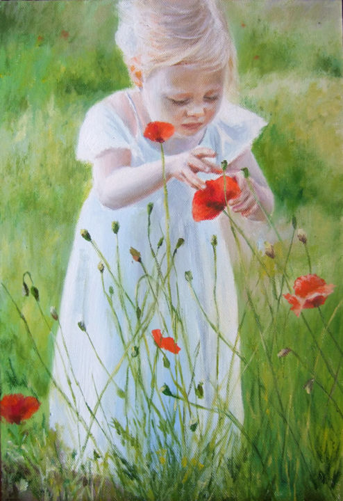 Child with poppies - Painting,  11.8x7.9 in, ©2016 by Calidè -                                                                                                                                                                                                                                                                                                                                                                                                                                                                                                                                                                                                                                                                                                                              Impressionism, impressionism-603, Children, Flower, Landscape, artwork_cat.Love/Romance, Nature, poppies, flowers, little girl, children, child, landscape, love, field