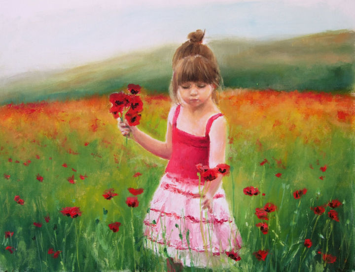 bimba-in-un-campo-di-papaveri.jpg - Painting,  11.8x15.8 in, ©2017 by Calidè -                                                                                                                                                                          Figurative, figurative-594, child poppies poppy landscape land child with flowers kid baby little woman